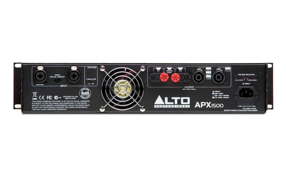 Alto Professional Legacy Amplifiers Series Apx1500 25 W Class A Amplifier Back